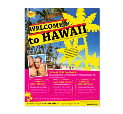 free travel flyer templates hawaii travel agency flyer template