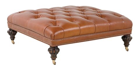 Designer Ottomans Square Tufted Leather Cocktail Ottoman Club Furniture