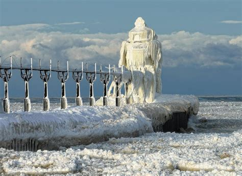Michigan Lake House by Top 1000 Frozen St Joseph North Pier Lighthouse In St
