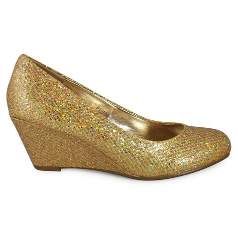new womens silver gold low heel glitter wedge