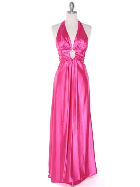 Pink Halter Satin Dress pink satin halter prom dress sung boutique l a