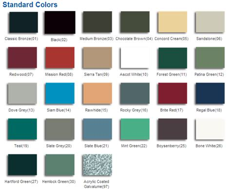 tin roof colors metal roof sles steel colors note all colors shown
