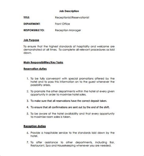 receptionist job description template   word  format   premium
