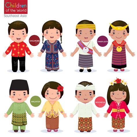 wallpaper cartoon malaysia 可爱的卡通各国儿童矢量素材 素材中国16素材网