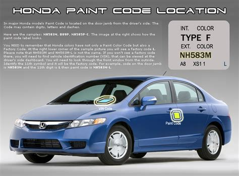 honda accord 2009 paint codes carid