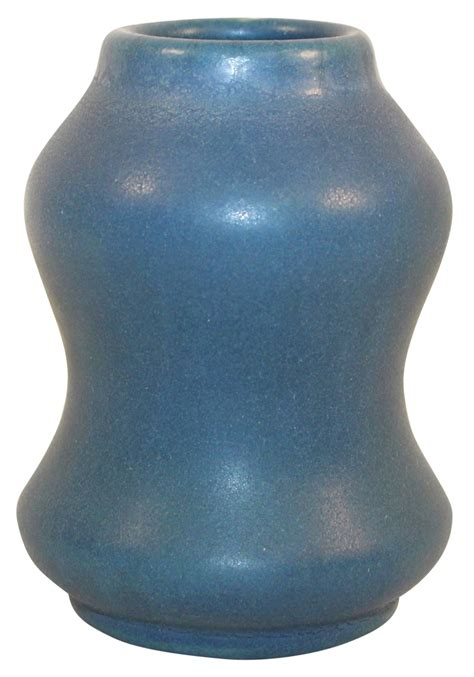 Vase Shaped by Briggle Pottery 1905 Matte Blue Hourglass Shaped Vase Shape 34 For Sale Antiques