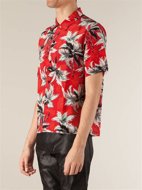 Tree Shirt St T1310 1 laurent palm tree printed shirt in for lyst