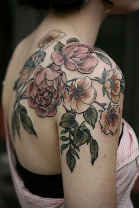 vintage floral tattoo shoulder flower tattoos designs ideas and meaning