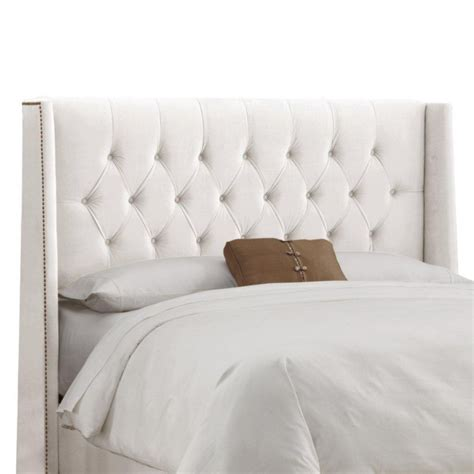 White Upholstered Headboard by Skyline Furniture Upholstered California King Headboard In