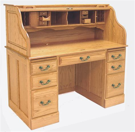 Roll Top Desk by 54 Quot W Deluxe Solid Oak Roll Top Desk