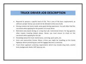 Driver Description Template by Truck Driver Resume Sle Pdf