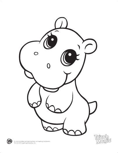 coloring pages baby animals learning friends hippo baby animal coloring printable from
