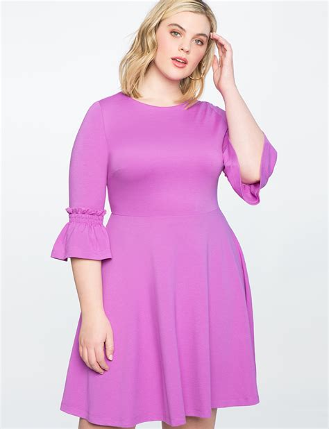 Sleeve Fit Dress smocked sleeve fit and flare dress s plus size