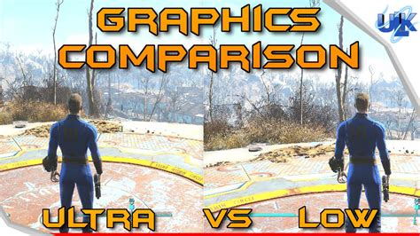 ultra low graphics vs fallout 4 graphics comparison low vs ultra fallout 4 pc youtube
