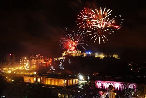 new year in edinburgh happy new year firework display lights up