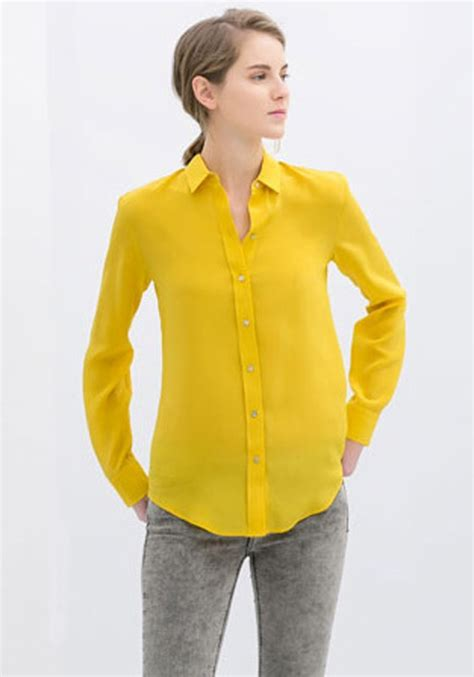 Yell O Blouse yellow plain turndown collar sleeve chiffon blouse blouses tops