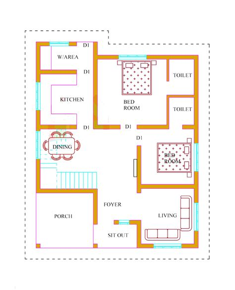 kerala two bedroom house plans kerala house plan with estimate usable home plans