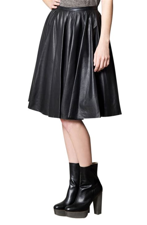 buy voguish mid calf length pleated leather skirt