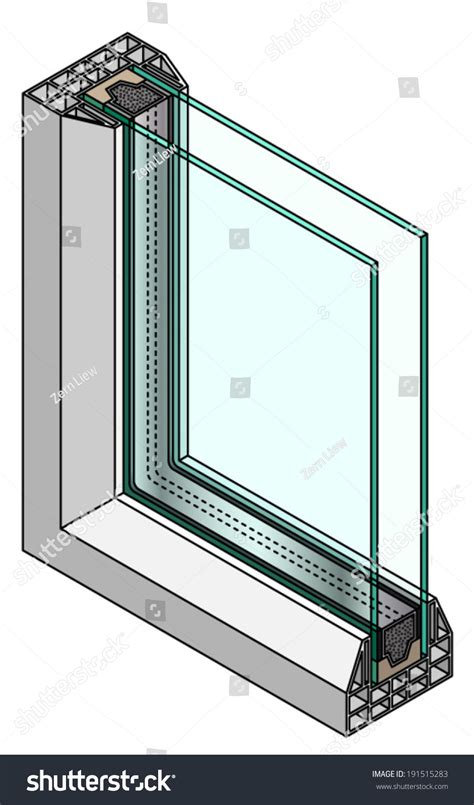 Section Symbol Windows by Crosssection Diagram Glazed Window Stock Vector