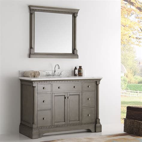 Mirrors For Bathroom Vanities 49 Inch Traditional Coffee Bathroom Vanity With Mirror And Marble Countertop