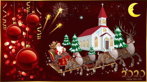 happy  year  merry christmas christmas greeting card santa claus  reindeer church