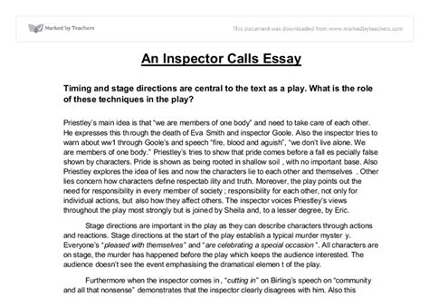 What Is A Call To In An Essay by An Inspector Calls Essay Timing And Stage Directions Are Central To The Text As A Play What Is
