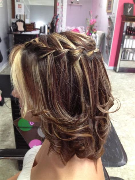 braided hairstyles layered hair waterfall braid works on medium layered hair too
