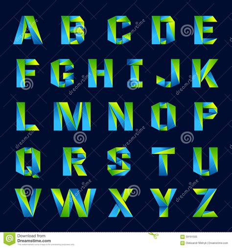 font design application fun english alphabet line colorful letters green stock