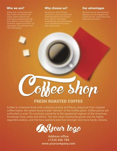 free coffee shop flyer psd template http freepsdflyer