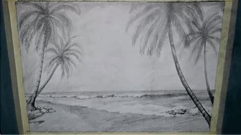 tutorial menggambar pemandangan teknik menggambar pemandangan pantai dengan pensil