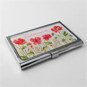 business card holder personalized personalized business card holder custom poppy business
