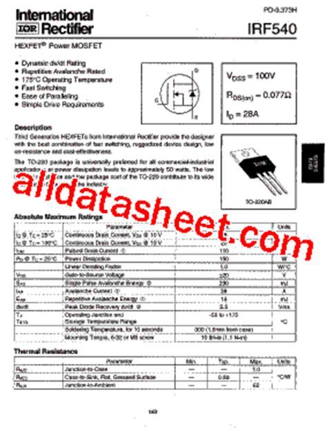 transistor mosfet de potencia datasheet irf540 datasheet pdf international rectifier