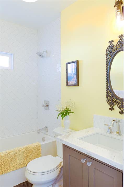 yellow small bathroom  brown vanity hgtv