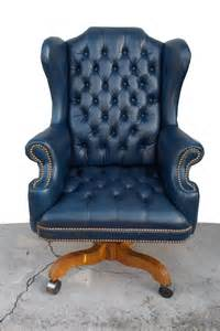Office Chair Blue Leather Regency Vintage Tufted Blue Leather Chesterfield