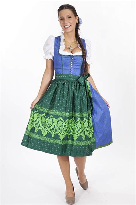 dirndl dress coloring page gamsbock dirndl blue with green apron wirkes trachtenshop