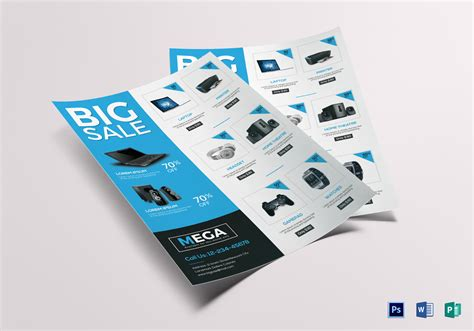 electronic bid electronic big sale flyer design template in word psd