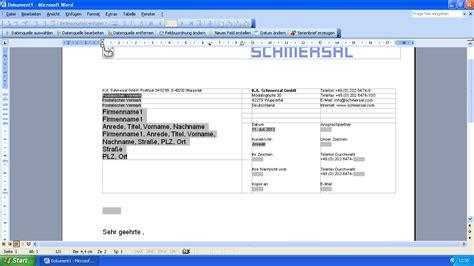 Word Vorlage In Excel Einfã Eworks Referenz Programmierung Word Serienbrief