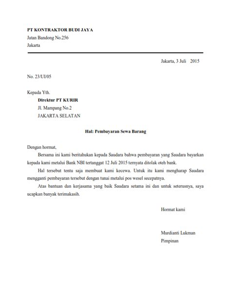 Contoh Surat Penawaran Block Style by Contoh Surat Dinas Semi Block Style Contoh Hu
