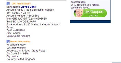 bank name by sort code wohnungsbetrug beware geopost dpd uk post