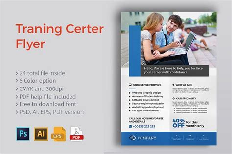 Training Center Flyer Flyer Templates Creative Market Course Flyer Template