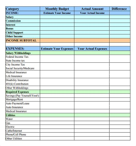 basic household budget template sle budget 7 documents in pdf word