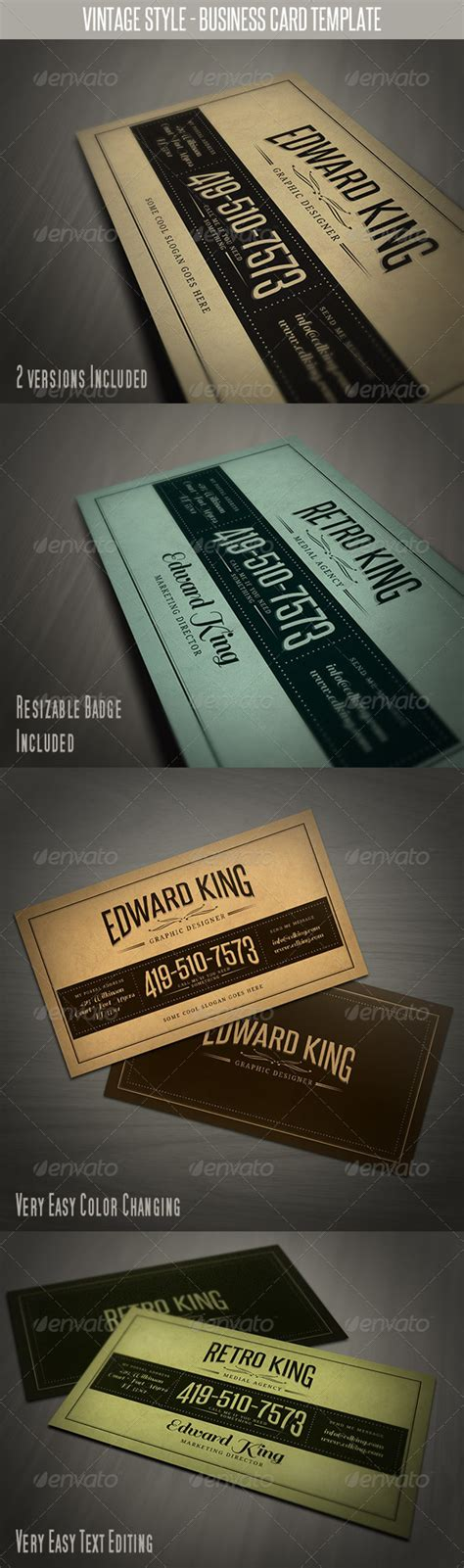 retro style business card template print template graphicriver vintage style business card