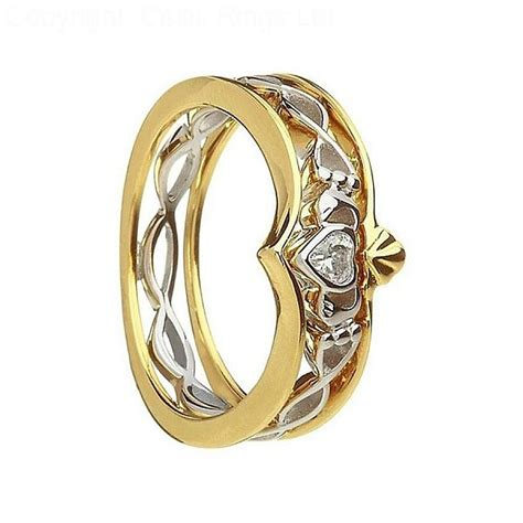 10k gold and silver claddagh ring with cz