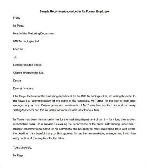 template recommendation letter for employee docoments ojazlink