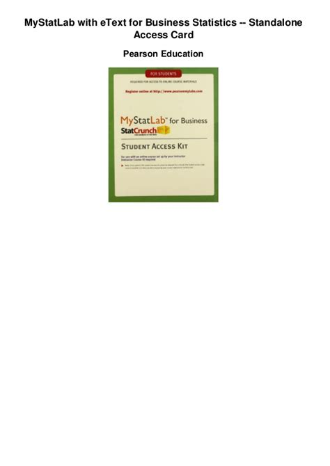Pdf Mystatlab Standalone Access Card mystatlab with etext for business statistics standalone