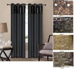 Black And Gold Valance Curtains 2 Leather Grommet Panel Faux Silk Window Curtain