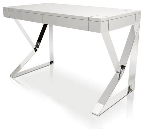 Modern White Lacquer Desk Houston White Lacquer Desk Modern Desks And Hutches By Modern Manhattan