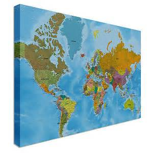 Canvas World Map by World Map Full Colour Countries Wall Art Canvas Print