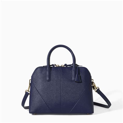 zara city bags with shoulder saffiano leather effect