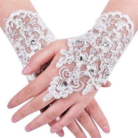 Rhinestone Wedding Gloves accessories lace fingerless rhinestone bridal gloves